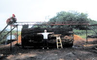 Portable sawmill endstand set-up